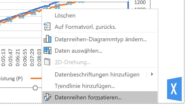 Excel Inisghts:  Screenhsot Menü Datenreihenoptionen über Option Datenreihe formatieren öffnen